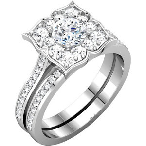 Sterling Silver Aubic Zirconia & A/  ATW Diamond Engagement Ring