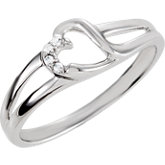 Heart Design Cubic Zirconia with Split Shank Ring