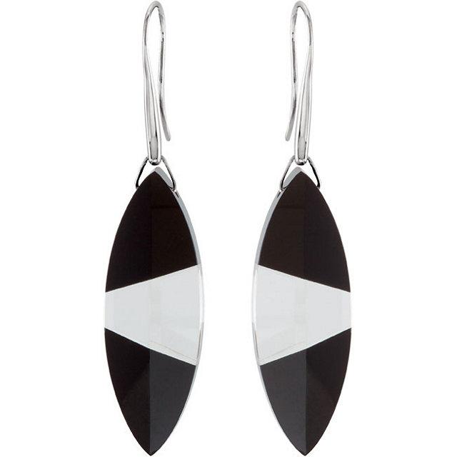 Sterling Silver Onyx & Clear Quartz Earrings