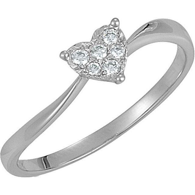 Vishal Jewelry White Gold .08 ct tw Diamond Heart Polished Ring at Sears.com