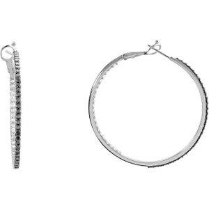 1 7/8 CTW Black & White Diamond Inside/Outside Diamond Earrings with Black Rhodium Plate