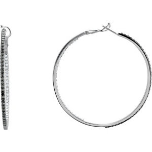 Black & White Diamond Inside/Outside Hoop Earrings with Black Rhodium Plating