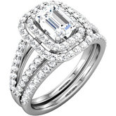 Diamond Double Halo-Style Semi-mount Engagement Ring or Band