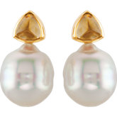 South Sea Cultured Pearl and Citrine Earrings