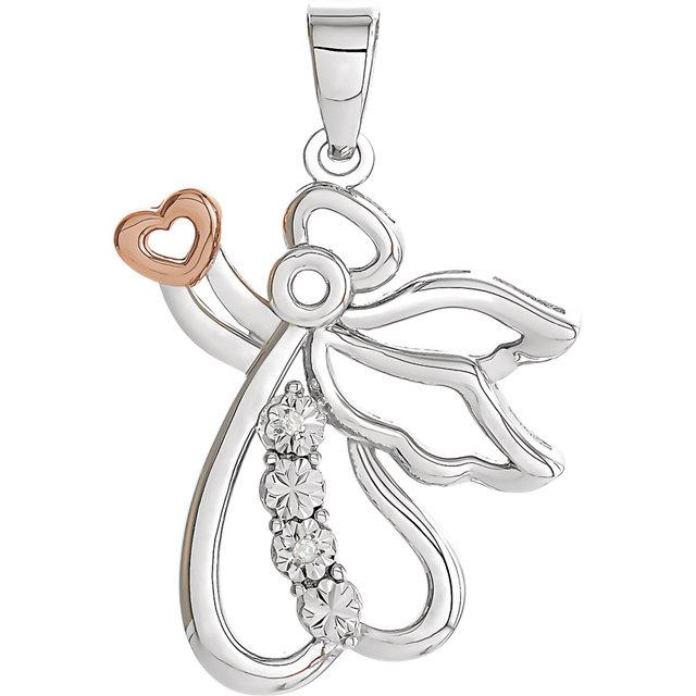 Sterling Silver & 14K Rose Gold Vermeil 24.9x16mm Diamond Angel Pendant