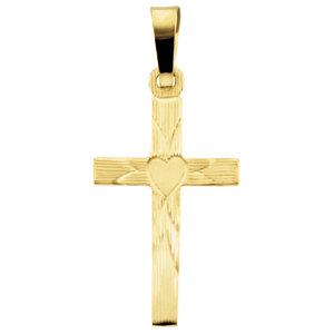 Cross Pendant with Heart Design