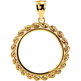 2.5mm Solid Rope Tab Back Frame Pendant for U.S. $5.00 Coin
