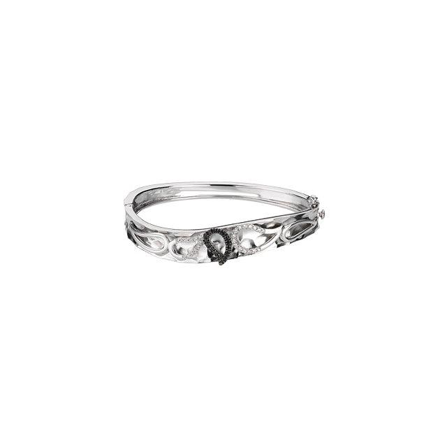 Sterling Silver & 14K White 1/3 CTW Diamond Paisley Design Bangle Bracelet