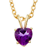 Heart-Shaped Genuine Amethyst Necklace