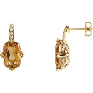Aitrine & Diamond<br> Earrings