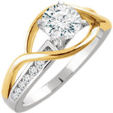 Diamond Semi-mount Criss-Cross Engagement Ring or Band