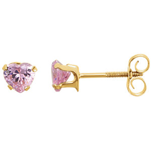 14K Yellow Pink CZ Heart Earrings