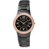Ceramic Couture™ Rose Gold Immersion Plated Watch with CZ's