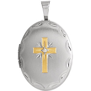 Oval Diamond Cross Locket