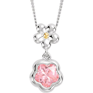 "Sterling Silver ROSE Cubic Zirconia BFlower™ 15-17"" Necklace with Box"