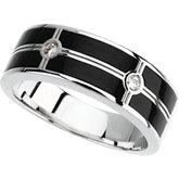 Men's Onyx & 1/10 ct tw Diamond Ring