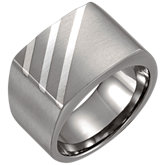 Titanium & Sterling Silver 17x13.5mm Signet Ring
