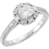 Diamond Semi-mount Halo-Style Engagement Ring or Mounting