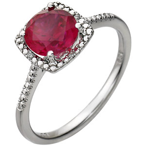 Sterling Silver Areated<br> Ruby & . 1 ATW Diamond<br> Ring
