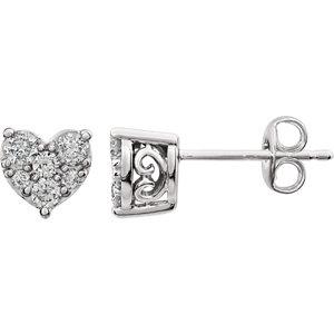 Diamond Cluster Heart Earrings