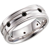 Sterling Silver 7mm Diamond Design Band