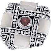 Genuine Mother of Pearl with Mozambique Garnet Ring