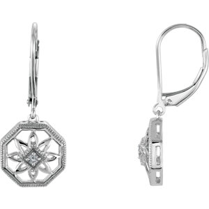 Sterling Silver . 4 ATW Diamond Lever Back Earrings