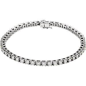 "14K White 5 CTW Diamond Line 7.25"" Bracelet"