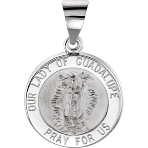 14kt White 15mm Round Hollow Our Lady of Guadalupe Medal