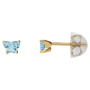 10K Yellow March Bfly® CZ Birthstone Youth Earrings with Safety Backs & Box