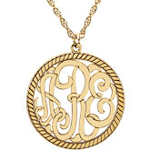 25mm 3-Letter Script  Monogram Necklace with Rope Border