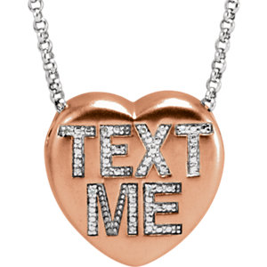 ".02 CTW Diamond ""Text Me"" Heart Necklace"