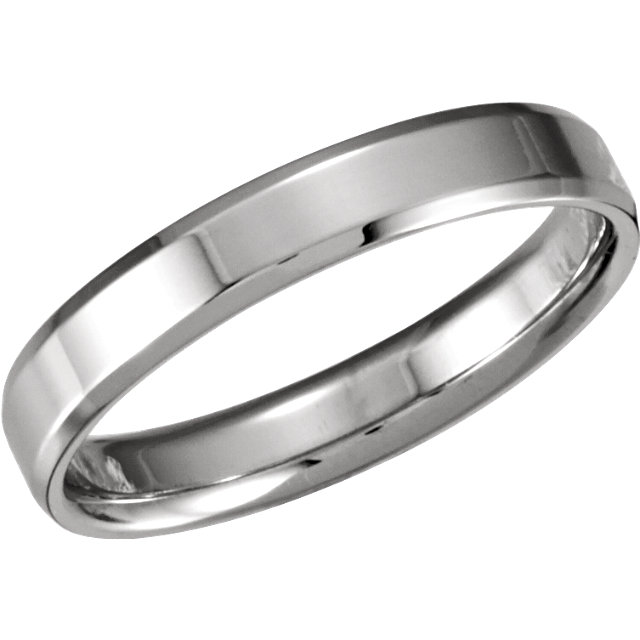 Sterling Silver 4mm Beveled Edge Comfort-Fit Band Size 10.5