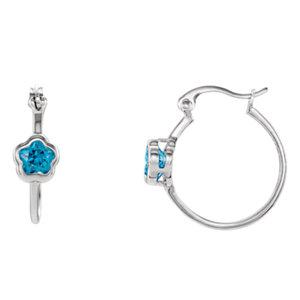 """Sterling Silver BFlowerâ""""¢ Blue CZ Dangle Earrings"""