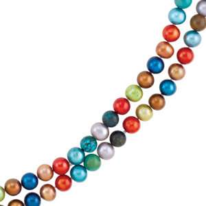 Freshwater Cultured Dyed Pearl & Turquoise Bead Necklace