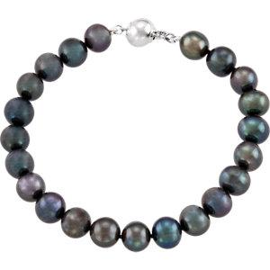 Sterling Silver<br> Freshwater Aultured Black<br> Pearl 7.75