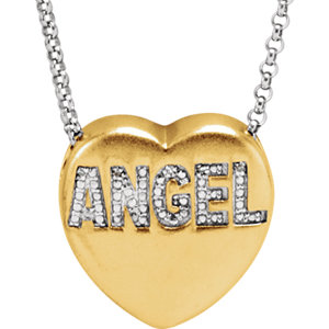 ".015 CTW Diamond ""Angel"" Heart Necklace"