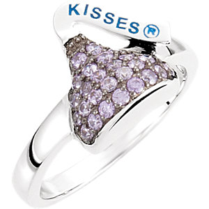 Sterling Silver February<br> HERSHEYS KISSES Aubic<br> Zirconia Birthstone Ring