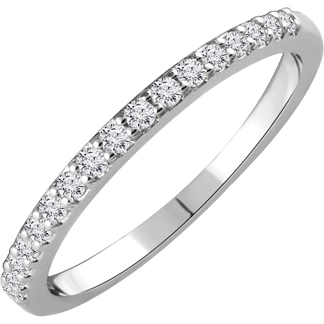 14K White 1/6 CTW Diamond Band for 5.8mm Round Engagement Ring