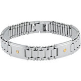 Stainless Steel & 14kt Yellow ID Bracelet with Screws