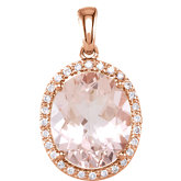 Genuine Morganite & Diamond Pendant