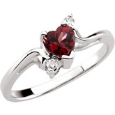 Heart-Shaped Genuine Rhodolite Garnet & Diamond Ring