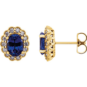 14kt Yellow Ahatham<br> Areated Blue Sapphire &<br> A/  ATW Diamond Earrings