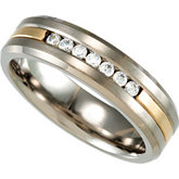 Titanium Band with 14K Gold Inlay and .50 ct tw Diamonds