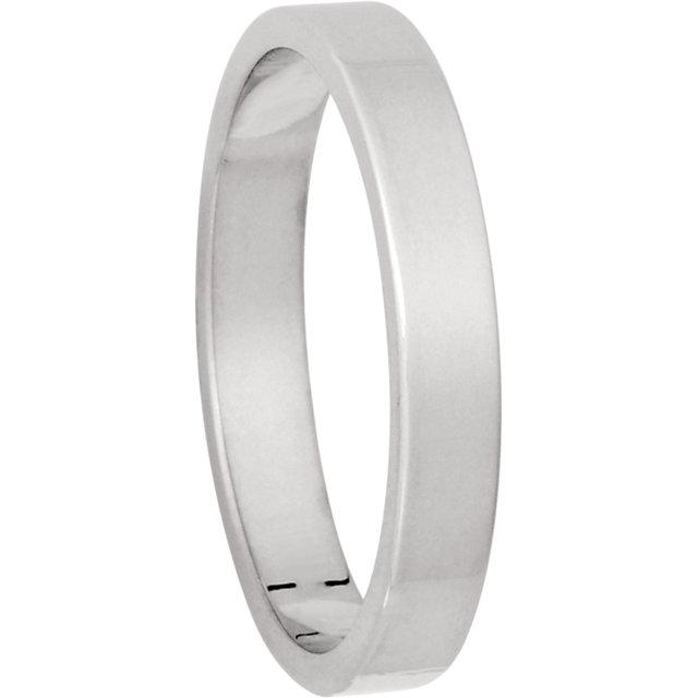 3 Millimeter White Gold Flat Shaped Wedding Band
