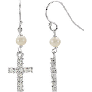 Youth Freshwater Cultured Pearl & Cubic Zirconia Earrings