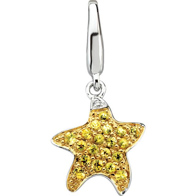 Starfish Charm Set With Yellow Sapphires