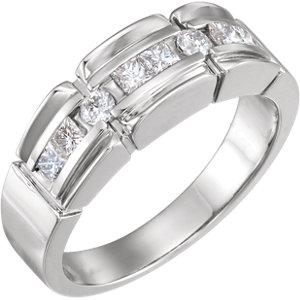 14K White 3/4 CTW Diamond Accented Men's Ring