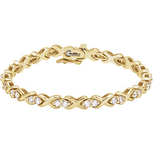 14K Yellow 2 1/2 CTW Diamond Line Bracelet