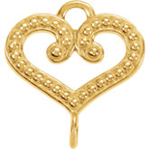 Granulated Design Heart Link with Rings